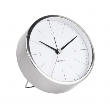 Normann Brushed Steel Alarm Clock - White