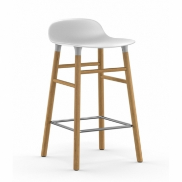 Form Barstool - White / Oak
