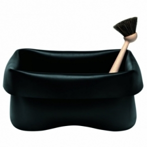 Rubber Washing Up Bowl Black With Brush