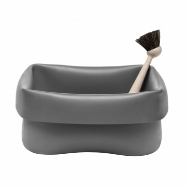 Rubber Washing Up Bowl Grey With Brush