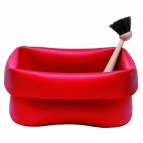Washing Up Bowl Red Rubber With Brush