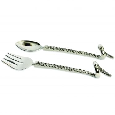 Octopus Fork And Spoon Salad Servers - Silver