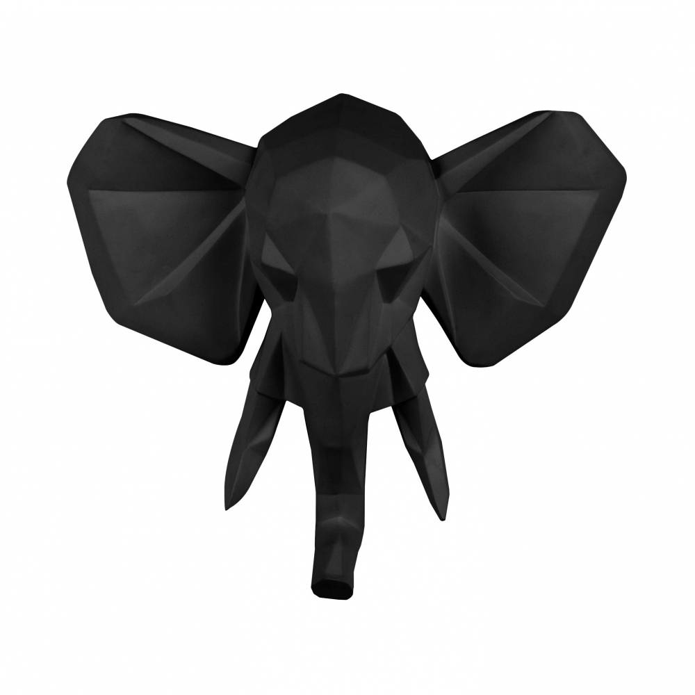 Origami Black Elephant Head Geometric Wall Art Large