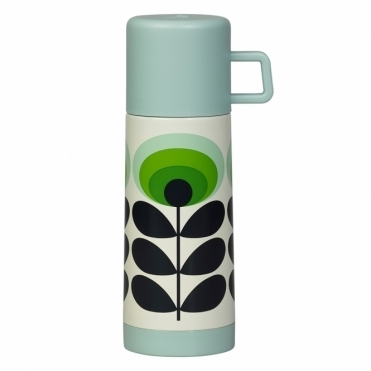 70s Flower Oval Flask - Green
