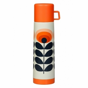 70s Flower Oval Flask Large - Orange