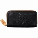 Orla Kiely Flower Stem Embossed Leather Big Zip Wallet Purse - Black