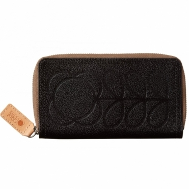 Flower Stem Embossed Leather Big Zip Wallet Purse - Black