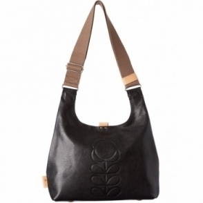 Flower Stem Embossed Leather Midi Sling Bag - Black