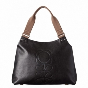 Flower Stem Embossed Leather Shoulder Bag - Black