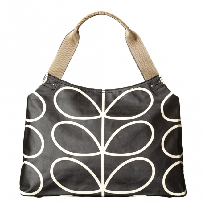 Orla Kiely Giant Linear Stem Zip Shoulder Bag - Liquorice