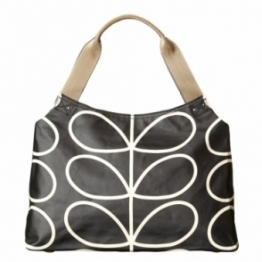 Giant Linear Stem Zip Shoulder Bag - Liquorice