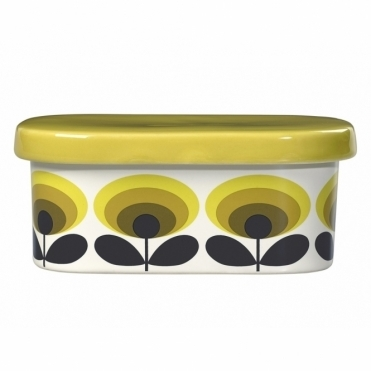 70s Flower Oval Butter Dish - Yellow