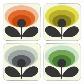 70s Flower Oval Coasters Assorted Colours - Set of 4