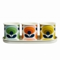 Orla Kiely House 70s Flower Oval Enamel Herb Pots - Set of 3 with Tray