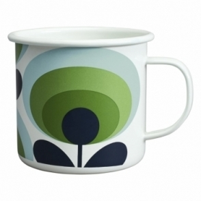 70s Flower Oval Enamel Mug - Apple Green