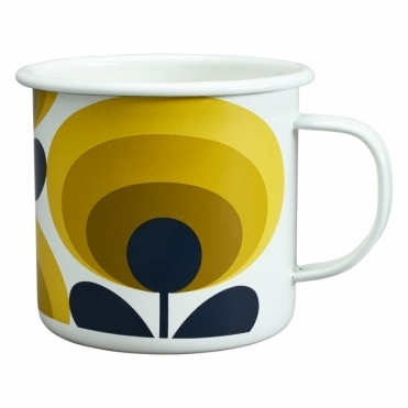 70s Flower Oval Enamel Mug - Dandelion Yellow