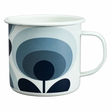 70s Flower Oval Enamel Mug - Slate Grey