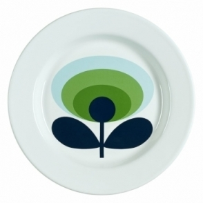 70s Flower Oval Enamel Plate - Apple Green
