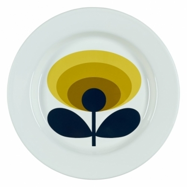 70s Flower Oval Enamel Plate - Dandelion Yellow