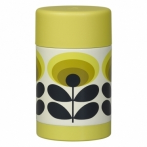 70s Flower Oval Food Flask - Yellow