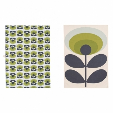 70s Flower Oval Green Tea Towels Pair - Set of 2
