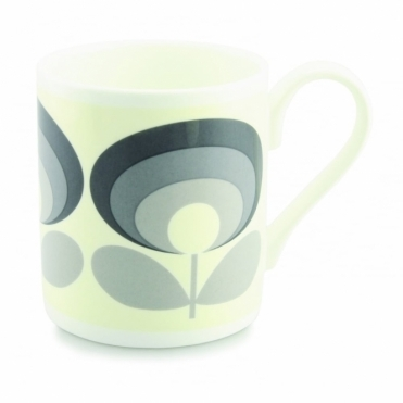 70s Flower Oval Grey Mug