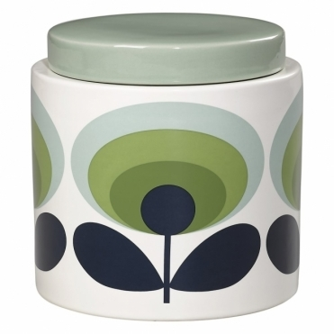 70s Flower Oval Jar 1 Litre - Green