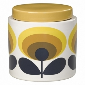 70s Flower Oval Jar 1 Litre with Ceramic Lid - Yellow