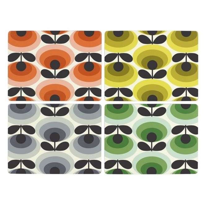 Orla Kiely House 70s Flower Oval Placemats Assorted Colours - Set of 4