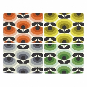 70s Flower Oval Placemats Assorted Colours - Set of 4