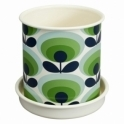 Orla Kiely House 70s Flower Oval Plant Pot Large - Apple Green