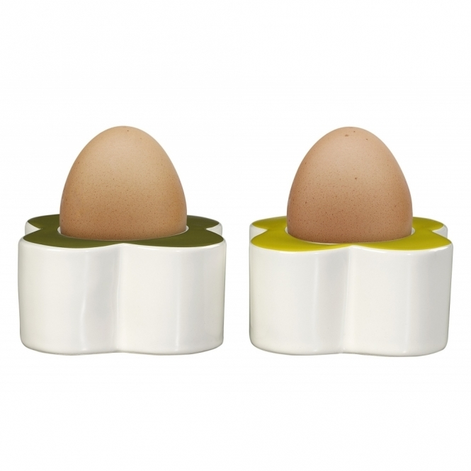 Orla Kiely House Abacus Flower Egg Cups Seagrass & Sunshine - Set of 2