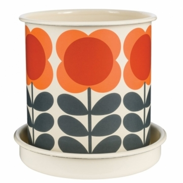 Big Spot Flower Stem Plant Pot Large Orange