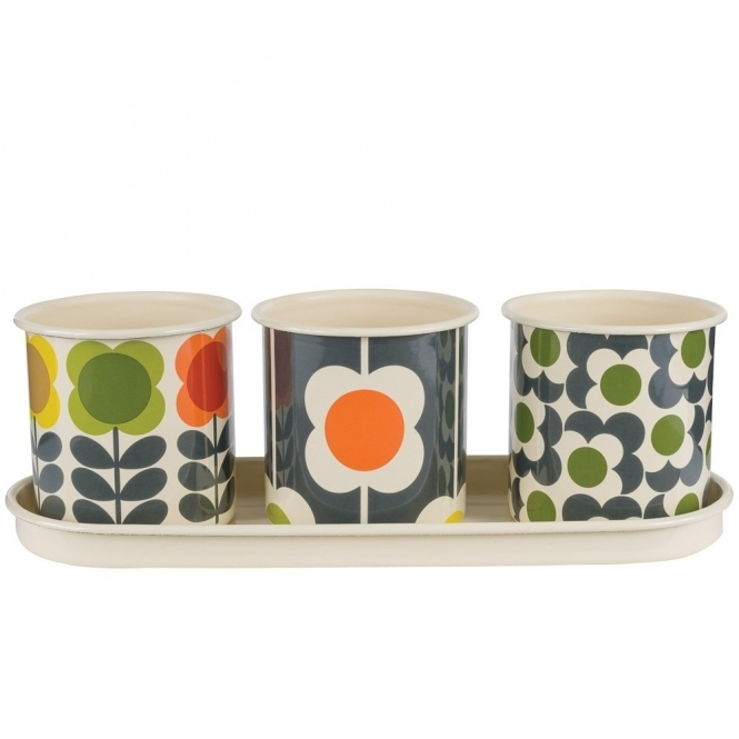 Orla Kiely House Enamel Herb Pots Big Spot - Set of 3 with Tray