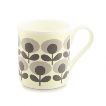 Flower Oval Grey Mug