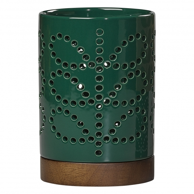 Linear Stem Ceramic Lantern Small - Evergreen
