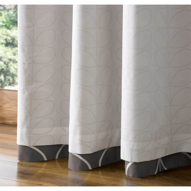 Linear Stem Lined Eyelet Curtains   Charcoal