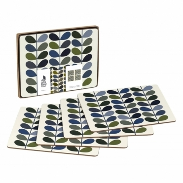 Multi Stem Placemats Khaki Marine - Set of 4