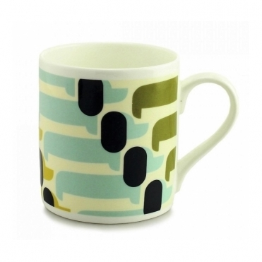 Sausage Dog Mug - Olive / Duck Egg