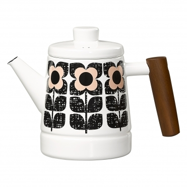 Scribble Square Flower Enamel Tea Pot - Rose Tint