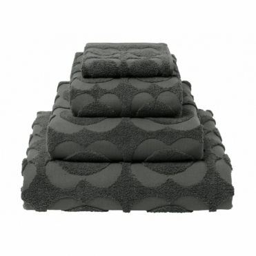 Spot Sculpted Flower Towels - Charcoal
