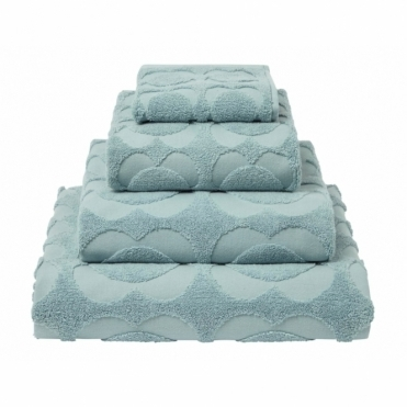 Spot Sculpted Flower Towels - Dark Duck Egg