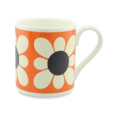 Square Daisy Flower Orange Mug