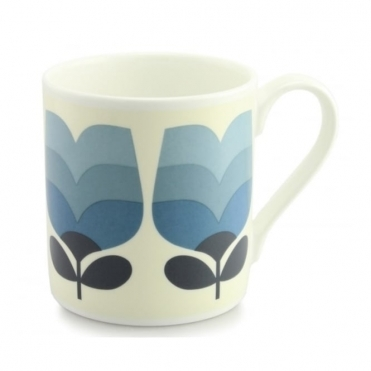 Tulip Tonal Striped Periwinkle Blue Quite Big Mug - Large