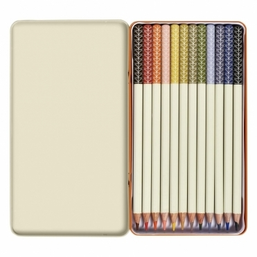 Linear Stem Colouring Pencils in Tin - Set of 12