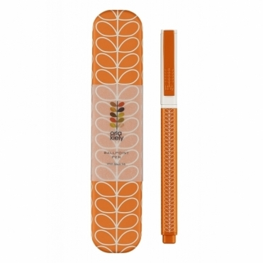 Linear Stem Papaya Metal Ballpoint Pen in Gift Tin
