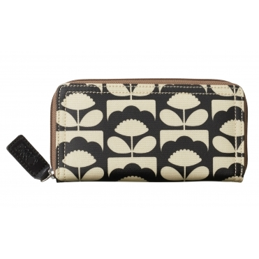 Tiny Spring Bloom Big Zip Wallet Purse - Charcoal