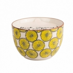 Hand Painted Bowl Scented Candle Large - Black Coconut & Amber