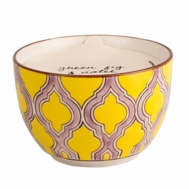 Paddywax Boheme Hand Painted Bowl Scented Candle Large - Green Fig & Violet