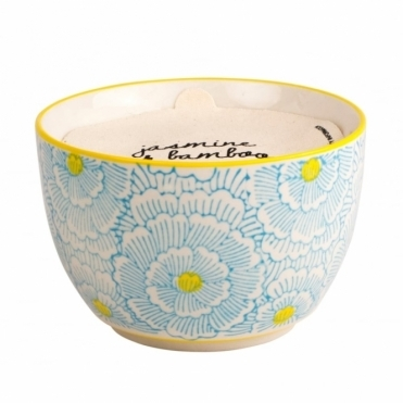 Hand Painted Bowl Scented Candle Large - Jasmine & Bamboo